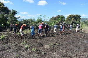 Community members planting peanuts